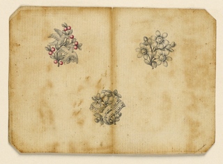 Jewelry designs for three brooches. Above at left, a branch with red cherries and two doves; at right a branch with three blossoming flowers. Below in the interval, a branch with two interlaced ribbons studded with gems. Beveled corners.