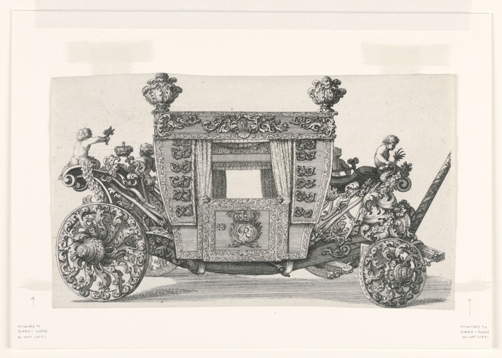 Side view of an ornate baroque carriage.