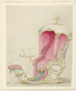 Elaborate rocaille design for an upholstered chaise lounge, with textile drapery at sides, a vegetal finial at the top, and a book stand with candle holder to one side. A woman is represented in the background.