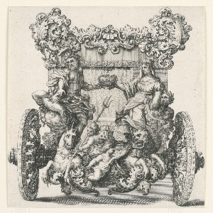 Rear view of carriage featuring scroll decoration and group of figures, including man and woman holding a crown together, putti below, nymphs, lion and unicorn.