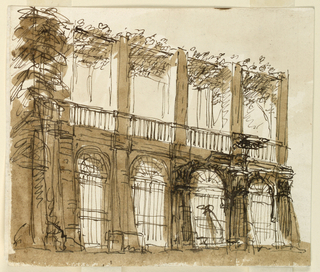 Drawing, Elevation of a pergola