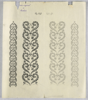 """Vertical rectangle. Designs of abstract floral patterns for panels and borders. Each drawing stamped at top: """"Sessin original a broderie."""" Designs numbered 162 (G)"""