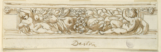 Frieze with putti, fruits and flowers.