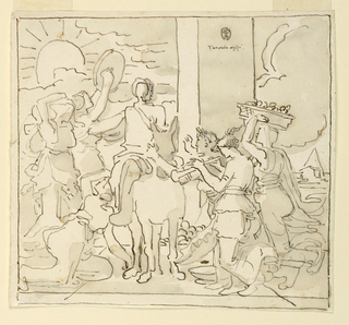 Sketch, Figure on Donkey Heralded by Musicians and Worshippers.