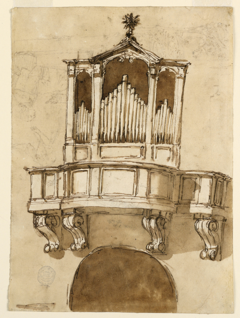 Vertical rectangle. Recto: Supported by four consoles and seen from below. Below is the arc of an opening. Tri-partite case of the organ pipes, which stand upon panels. The lateral parts have horizontal cornices, the central triangular, on top a star. The wall and the openingare colored. Verso: On the reverse, in opposite direction: Upon the steps of teh building are sitting a young man and an unstylishly clad older one, who is speaking. Behind them stands a young woman, looking upon the ruins. The group is at left, the architectural parts are at right.