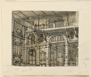 Horizontal rectangle. Prison court with many barred openings toward left side and background, open gallery around court beneath roof.