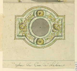 Plan of the decoration of the base from the top. Marble with bronze mounts of wreaths and leaves, rosettes.