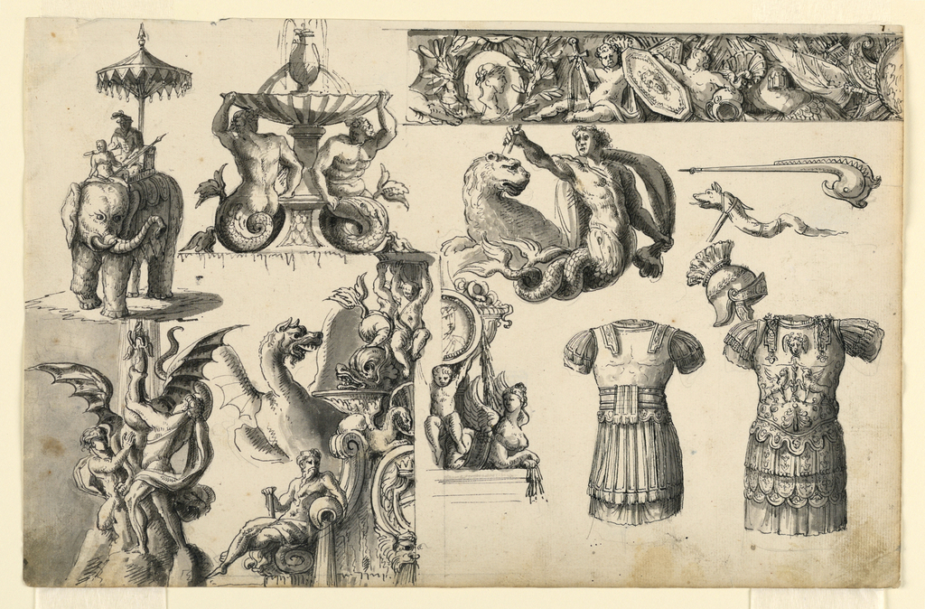 Horizontal rectangle with multiple designs for fountains and decoration. Left row: above, an elephant ridden by a noble person shaded under an umbrella. Below, a fountain on which two boys are struggling against a dragon, from whose mouth the water springs. Second row: above, a fountain with two male mermaids supporting the basin, together with a central support. Below, the left half of a decorated fountain with the water pouring from an urn held by a seated male figure. At left, the upper part of a rampant dragon. At right, designs for armor, helmet, and weapons. At upper right, design for a frieze including cupids with swords, shields, and helmets. Below, a male mermaid raising a spear or triton, a lion behind him.