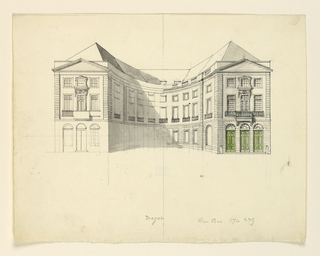 Horizontal rectangle. Unfinished drawing. U-shaped building with two end facades, with rusticated ground floor, with balconies on main floor, and pediment above.
