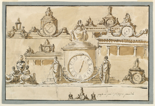 Drawing, Seven plans for the cresting of a timepiece