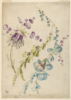 Three sprays of fanciful flowers, in the Pillement taste.