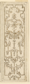 Design for vertical panel with strapwork and sphinxes.