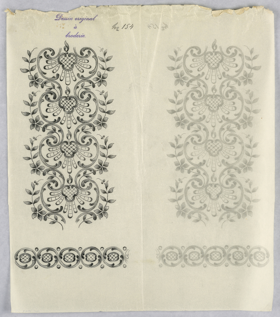 """Vertical rectangle. Designs of abstract floral patterns for panels and borders. Each drawing stamped at top: """"Sessin original a broderie."""" Designs numbered 154 (D)"""