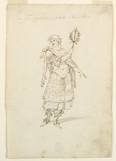 """Vertical rectangle. A bearded man wearing a skirt is shown frontally. He raises with his right hand a mace similar to that in object 1942-3-5. A lion skin hangs around his shoulders. Written in the lower part of the right sleeve and of the skirt: """"Biancho,"""" in the bodice above the waist: """"Follia morta,"""" in two bands of its lower part respectively: """"Giallo,"""" and """"Rosso."""" On top: """"La sigra Angiolina Valors Musicha."""""""