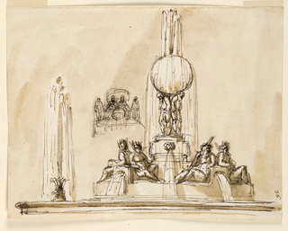 A low basin with a circular podium with seated figures below a sphere from which water flows.  Additional fountain and detail at left.