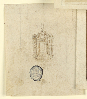 Architectural escutcheon flanked by term figures. Pair of volute at top. Hanging pearl at bottom.
