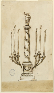 Design for a six armed candlestick in the form of a column with figure, possibly the young Dionysos at top.