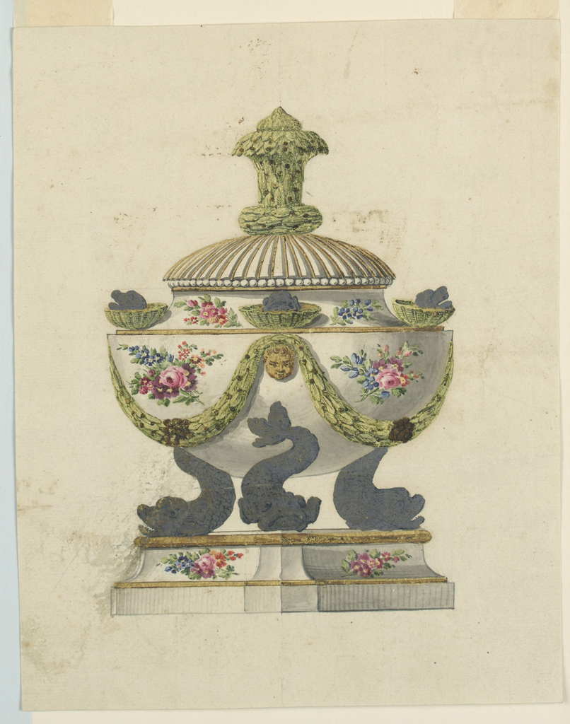 Drawing, Porcelain bowl with cover on a stand, 1775–1800