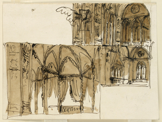 Drawing, Gothic interior