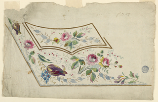 Design for the embroidery of the left bottom part of a man's waistcoat. The waistoat and the pocket are brown edged. The decoration consists of flower boughs; roses and tulips are included.