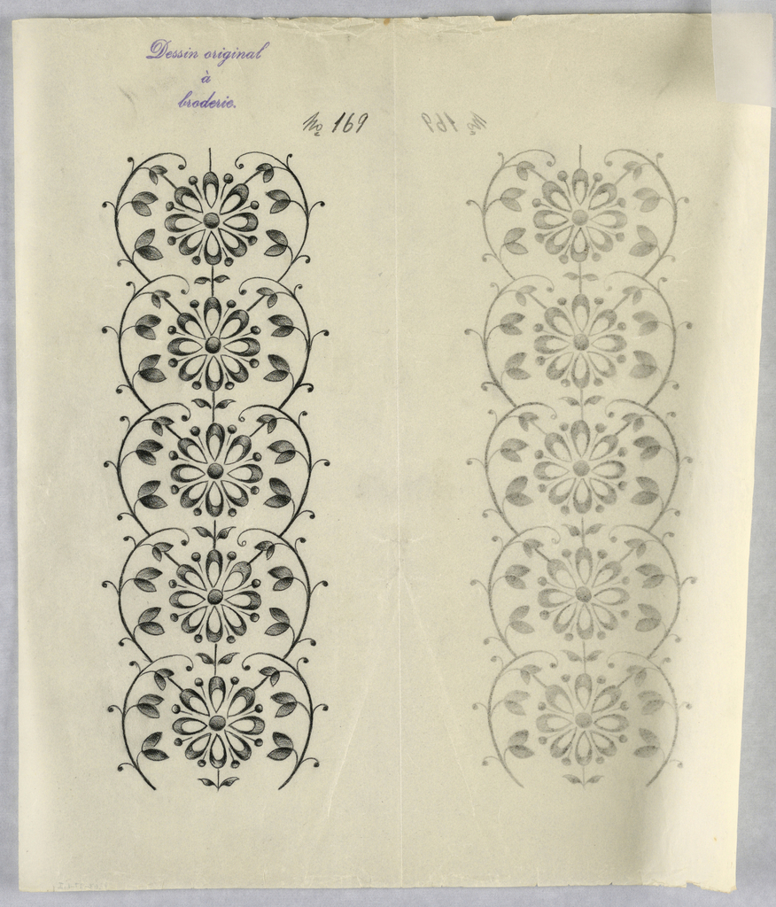 """Vertical rectangle. Designs of abstract floral patterns for panels and borders. Each drawing stamped at top: """"Dessin original a broderie."""" Designs numbered 169 (I)"""