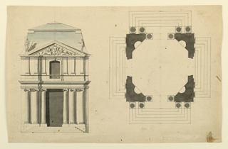 Drawing, Project for a square pavilion