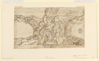 Two putti stand upon a console, one shown from the front, the other from the back. They support a painted ceiling beam. On either side are partial escutcheons composed of sculptural ornament including putti, a swan and a snake.