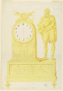 Base of clock supported by tapered legs. Scene depicted on front horizontal panel is of a bearded man speaking to a seated crowned man; a woman at right. Above, at left, clock case decorated with arms on front of case and on top. At right stands a classical warrior, his helmet in his hands.   Inscriptions:  Below, graphite: Belisaire [faintly written];  pen and brown ink: Belisaire eiv No. 101  Lowe right: Cooper Union stamp #457D