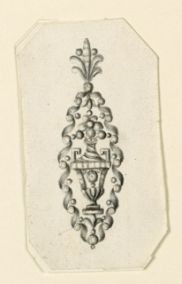 Design for an earring. Scrolls of ribbon connected by round diamonds create an oval frame. Inside is a vase with a blossom and three beads. On top is a palmette. Bevelled corners.