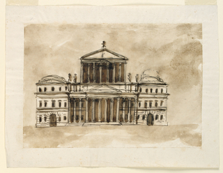 Drawing, Elevation of a public building