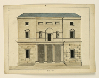 Horizontal rectangle. Two and a half storied building with small columned porch on ground floor. Statues in niches flank a window set in a shallow arched recess above.