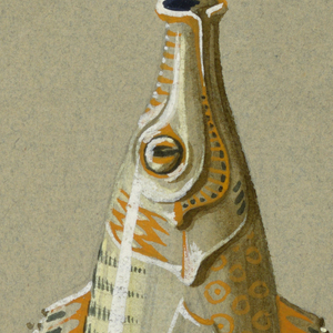 The design shows a vase in the form of a fish.