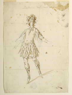 "Vertical format. Male figure shown frontally in a dancing pose; the right arm and the left hand are roughly sketched, in pencil. Written on top: ""Ballarini dal carrone"" (?); added in pen and ink: ""no lo."""