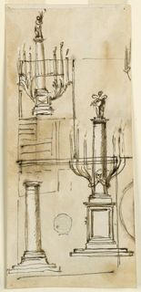 At left, a monumental column with a putti at top. Two brackets with three branches with a candle each spring from the sides of the pedestal. A similar design at right and column below.