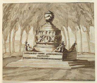"In a wooded clearing a pedestal stands upon three steps. The lower plinth is inscribed with ""CHIARI RAPI CHI (?) NIENTE/ PREZZA/I SUOI TALE(n)TI VENIRIANO (?) ANORA"". A fluted urn surrounded by a band and with two genii holding a portrait medallion crowns the pedestal. Figures of women kneel at the four corners of the plinth below the pedestal."