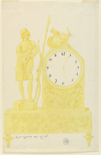 Clock sits on footed base, lower panel decorated with intertwining leaves and branches. Bottom portion of clock decorated with rosettes, cornucopia, and central mask. Above dial, a horn and a quiver. At left, a boy in a helmet, holding a dog. A spear and bow lean against clock.