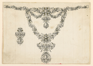 Drawing, Design for a necklace and earring, ca. 1755