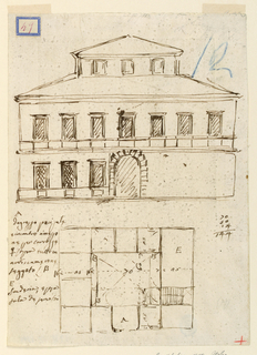 Drawing, Elevation and ground floor plan of a mansion