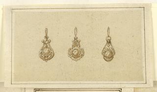 Drawing, Design for three pendants with diamonds, 16th century