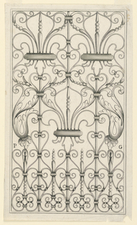 Print, Panel of a Wrought Iron Railing