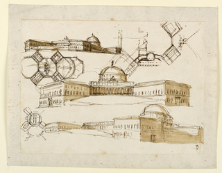 Center: an elevation: two obliquely disposed wings flank the central domed section showing a colonnade in its full width. Flights of stairs or ramps lead to it. Several plans are concerned with the idea of wings radiating from a central section. Top left, bottom rights: two views. The dome rises from a side wing.