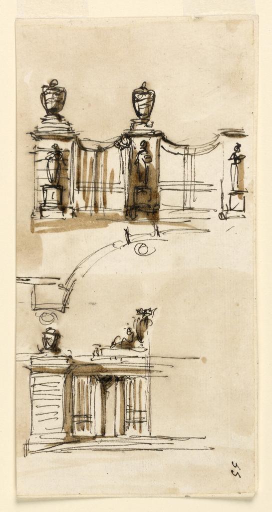 Drawing, Gateway of a villa