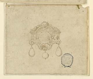 A big round diamond surrounded by six small ones and two square gems. At top, a mask and festoon. Below, a shell and three drops.