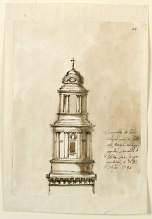 Design for a steeple. Below is the entablature of a square part. Above rises a story like a circular pavilion upon a dado with embedded columns supporting the entablature. At the front are a window and an escutcheon above it. The upper story is shaped like a similar open pavilion. On top is a dome of a kind, with a band aroudn the tambour, and a cross colored background.