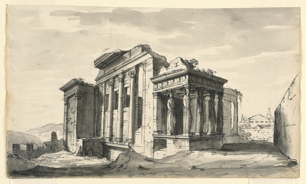 Horizontal rectangle. Ancient Greek temple in ruins, the Erectheion on the Acropolis in Athens, Greece with six caryatids.