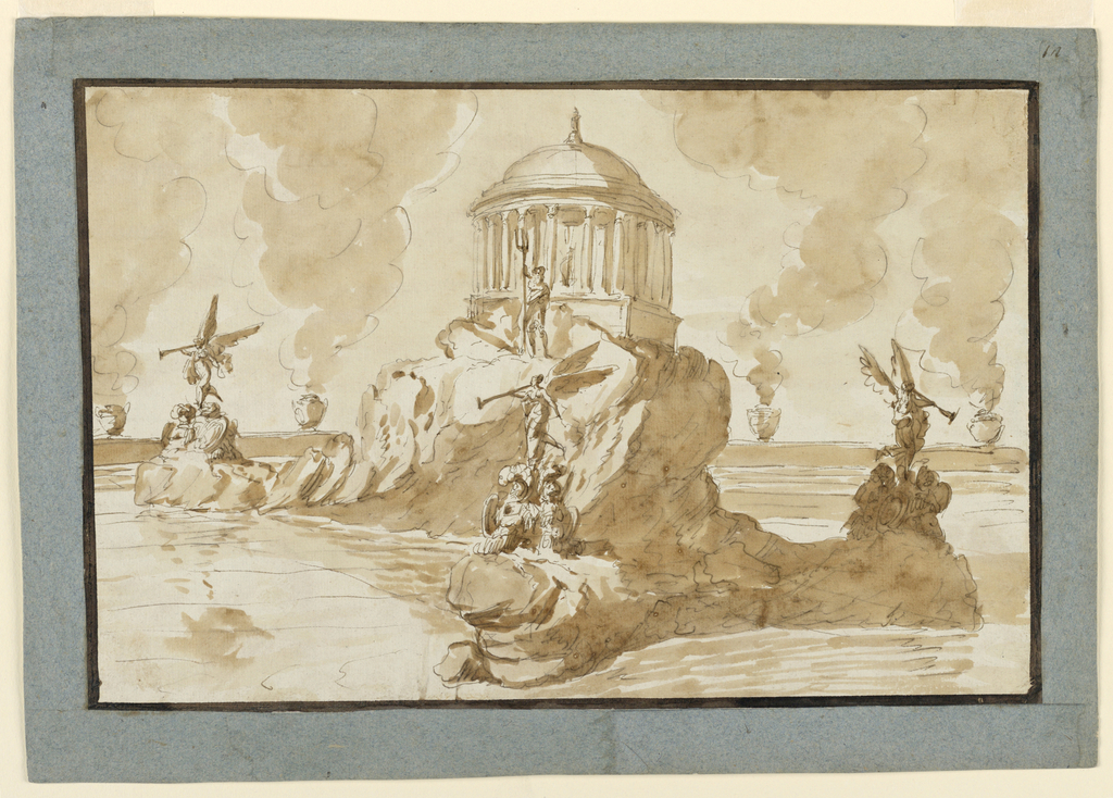 Horizontal rectangle. Shown like 1938-88-1774. The design is a variation of that of 1938-88-1774. Urns containing fires stand upon the enclosure. Upon the ledges stand genii, blowing trumpets, upon trophies of arms, Neptune stands before the pavilion. No inscription is shown but a statue is written in the pavillion. Dark brown framing band. Framed by gray-blue paper stripes.