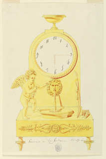 Clock sits on footed base, lower panel decorated with palmette motifs. At left, a winged cupid gazes at a mask of Medusa spouting water into a basin. A quiver stands beside basin. Above, a dial with a footed bowl at top.