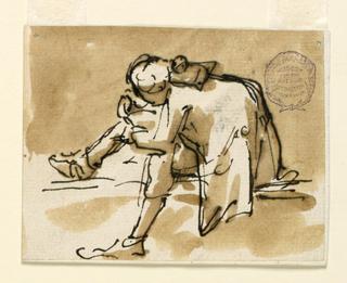 A stylishly dressed hunchback sits on a step reading a note.