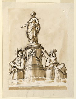Athena with helmet stands upon a high round pedestal decorated with festoons and masks from which water flows into a lower basin. On either side of the pedestal is a river god.
