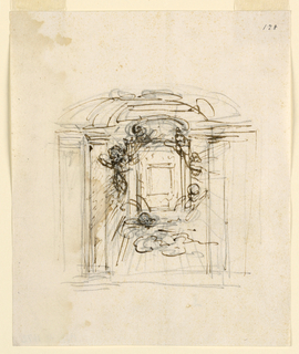 Drawing, Frame of a painting in altar retable